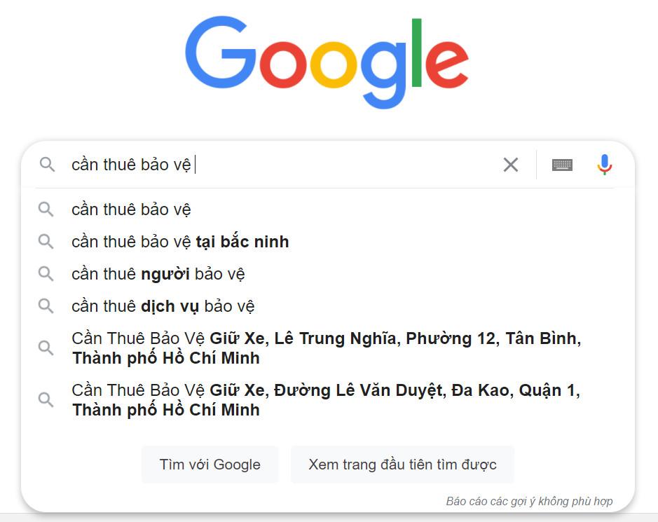 Mọi người tìm kiếm dịch vụ bảo vệ trên Google