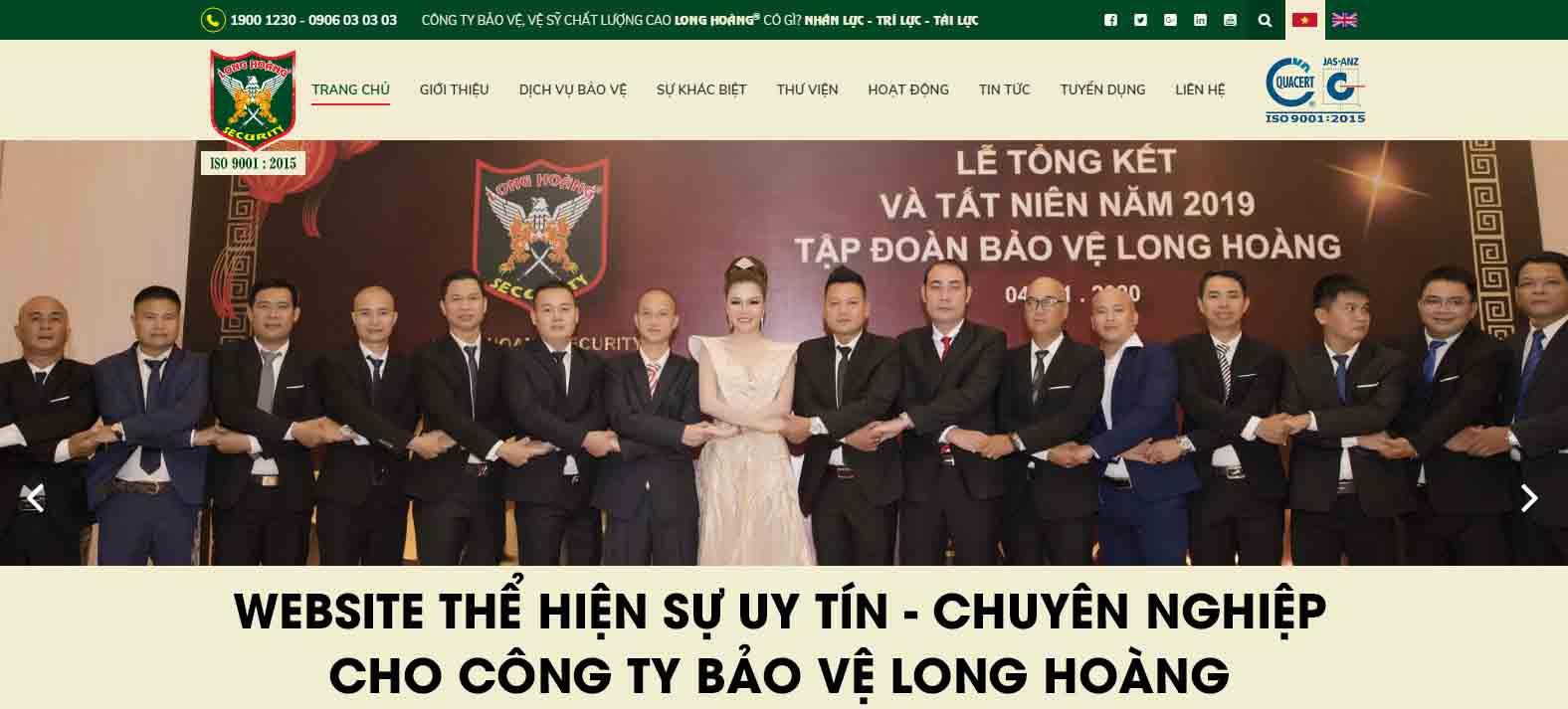 Website thể hiện uy tín chuyên nghiệp cho công ty bảo vệ Long Hoàng
